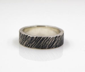Mens Sterling Silver Cross Grain Ring