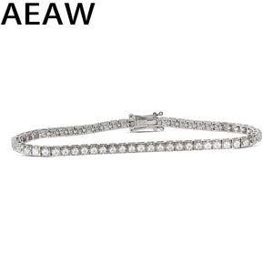 Trendy Style Solid 10K 2.5CTW Yellow/White Gold DF Color Moissanite Lab Grown Diamond Bracelet