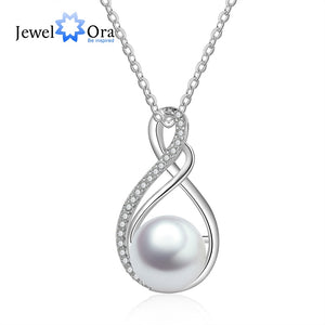 925 Sterling Silver Water Drop Zirconia & Pearl Pendant Necklace