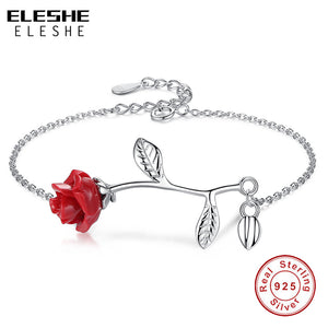 ELESHE Luxury Real 925 Sterling Silver Bracelet with Red Rose Flower Charm Bracelet  Fine Jewelry