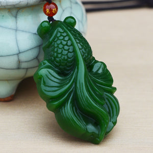 Natural Hetian Jasper Fish pendant Hand carved carp Nephrite pendant necklace Attached lanyard Fine Jade jewelry
