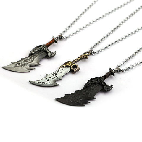 Sporty Game God Of War Weapon Blades of Chaos Jewelry Statement Krato Pendant and Necklace
