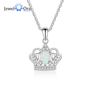 925 Sterling Silver Crown Necklaces & Pendants Elegant White Opal Necklace & Pendant