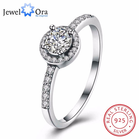 925 Sterling Silver Classic Round Cubic Zirconia Rings