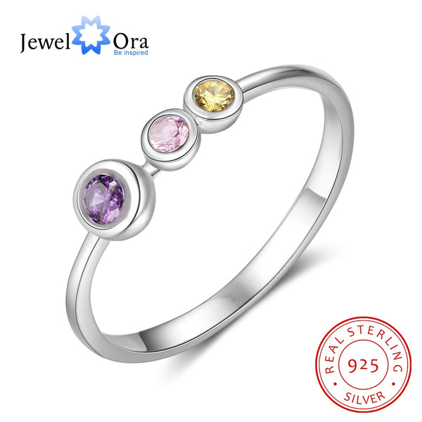 JewelOra 925 Sterling Silver Personalized Mother Ring with Birthstone Custom Family Rings for Women DIY Fine Jewelry