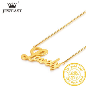 "24K AU 999 Solid Gold ""Lovely"" Chain Trendy Classic Necklace Fine Jewelry"