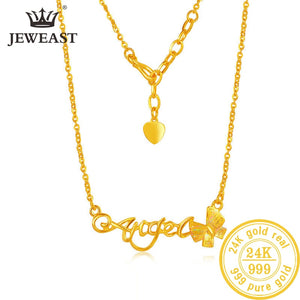 24K AU 999 Solid Gold Chain Beautiful  Angel Writing & Ribbon Accent Elegant Necklace Fine Jewelry Hot Sell New 2020