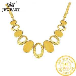 24K AU 999 Solid Gold Exquisite Statement Necklace Fine Jewelry
