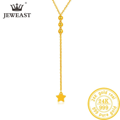 24K AU 999 Solid Gold Y Star Necklace Elegant Style Fine Jewelry