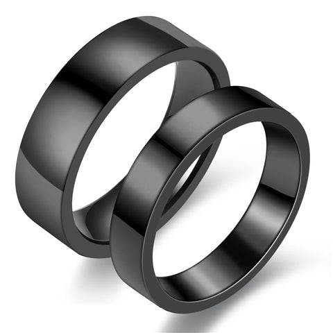 Men's Ring Stainless Steel Ring Wedding Ring Black Glossy Ring