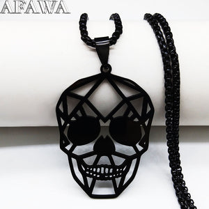 2019 Black Skull Stainless Steel Chain Necklaces & Pendants