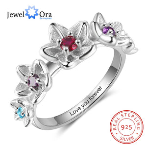 JewelOra 925 Sterling Silver Personalized DIY Birthstone Inside Engraving Flower Ring