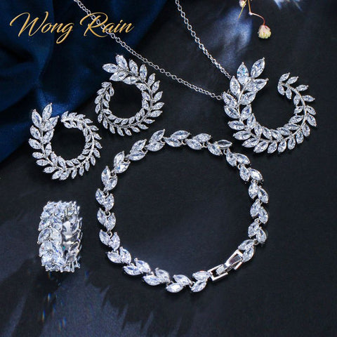 Wong Rain Bohemian 925 Sterling Silver Created Moissanite Gemstone Necklace/Earrings/Bracelet Set