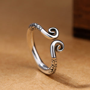 925 Sterling Silver  Retro Love You Ten Thousand Years Couple Thai Handmade Party Ring