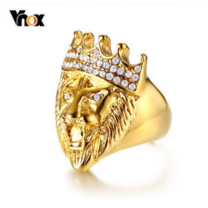 Vnox Punk Men's Lion Head Ring Gold Tone Stainless Steel Rings for Man Bling Rhinestone Hiphop  Male Boy Jewelry
