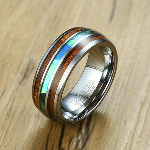 Vnox 8mm Tungsten Carbide Ring for Men Wood Pattern Colored Unique Wedding Band Casual Gentleman Anel Jewelry
