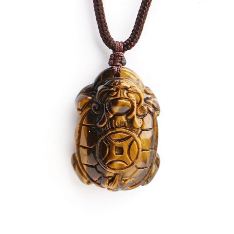 Natural Yellow Tiger eye Pendant Carved Chinese Dragon Turtle Necklace Lucky Amulet Bring Wealth Men Stone Jewelry With Rope