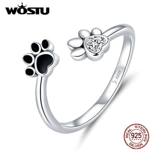 925 Sterling Silver Paw Dog Footprints Ring