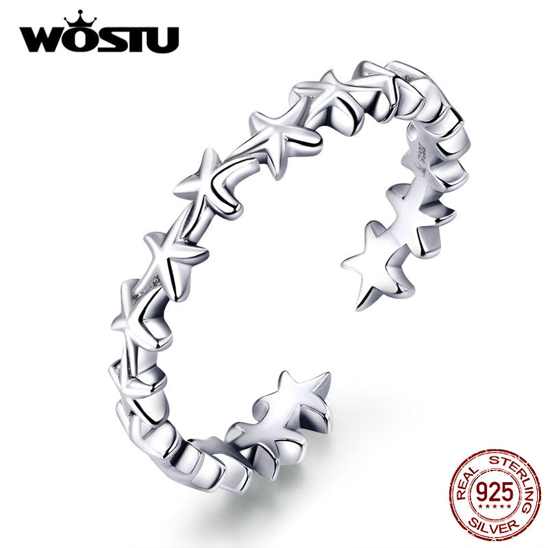 925 Sterling Silver Cheerful Starfish Adjustable Opening Ring