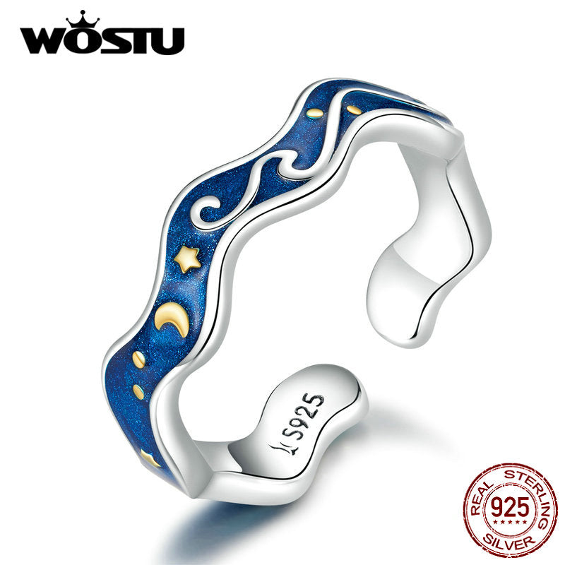 WOSTU 925 Sterling Silver Starry Sky Blue Adjustable Ring
