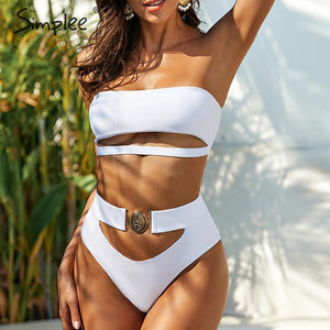 Simplee Sexy Bandeau High Cut Swimwear, Bathing Suit