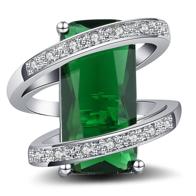 925 Sterling Silver  10*20mm Rectangle Emerald Cocktail Ring