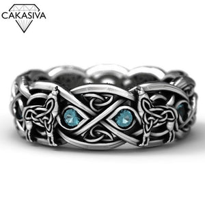 Celtic Wolf 925 Sterling Silver Dyed Black Vintage Stone Thai Silver Ring