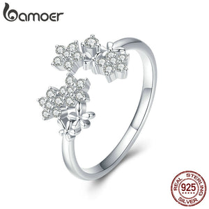 BAMOER Shining Authentic 925 Sterling Silver Daisy Clear CZ Adjustable Ring