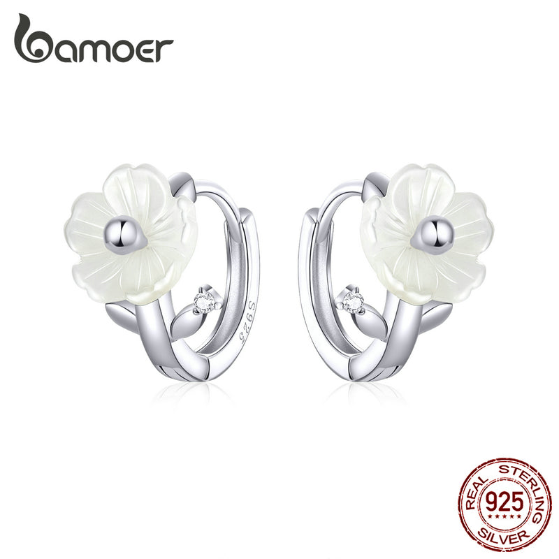 Bamoer Silver 925 Jewelry White Shell Flower Tiny Hoop Earrings for Women Elegant Female Jewelry Accessories Gifts BSE321