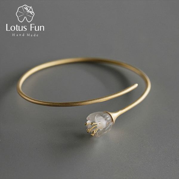 Lotus Fun Real 925 Sterling Silver Natural Crystal Handmade Designer Fine Jewelry Fresh Orchid Flower Bangle for Women
