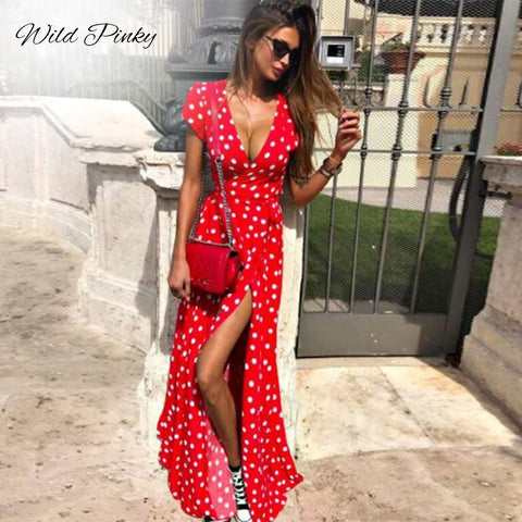 WildPinky Boho Polka Dot Long Dresses Women Split Short Sleeve Summer Casual Dress 2019 Streetwear Black Maxi Dress Vestidos