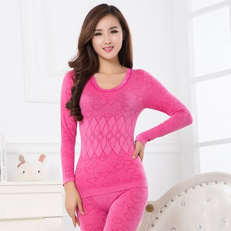 2020 Thermal Underwear Warm Winter Print Seamless Antibacterial Intimates Sexy Ladies Clothes Print Long Johns Women Shaped Sets