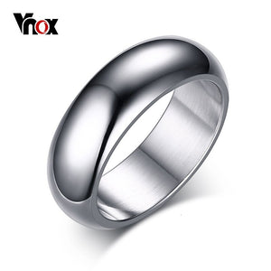 Vnox 7mm Classic Ring For Women Men Arc Surface Stainless Steel Wedding Band Gold Color Unisex Neutral Simple Statement Jewelry
