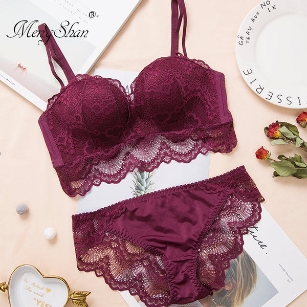 Comfortable Gathering Sexy Underwear Suit push up bra Ring-free lace edge massage palm cup bra+set lingerie femme 75C 80C 85C