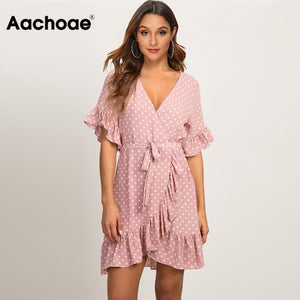 Summer Dress 2020 Boho Style Beach Dress Fashion Short Sleeve V-neck Polka Dot A-line Party Dress Sundress Vestidos