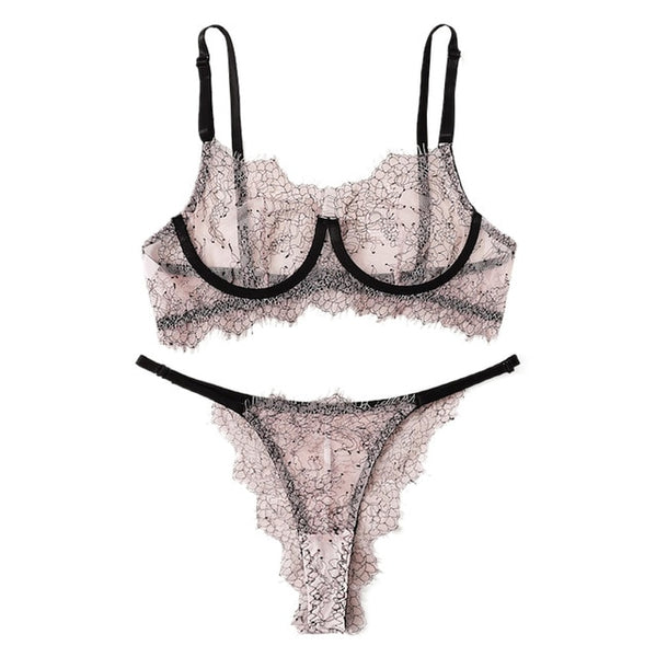 2019 Women Lingerie Underwire Bra Lace Gauze Lightly Lined Soft Underwear Sexy porno Intimates Thin Breathable Panties Dessous