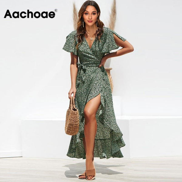 Aachoae Long Wrap Dress 2020 Summer Boho Style Floral Print Maxi Beach Dress Sexy Side Split Party Dress Sundress Vestidos