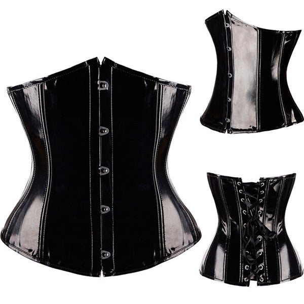 FLORATA Steampunk Corset With Steel Boned Lace up Back Sexy Body Bustier Overbust Corset Women Waist Cincher Corsets Black S-6XL
