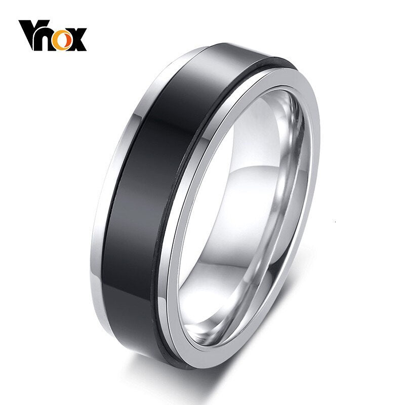 Vnox Stylish Double Layers Spinner Rings for Women 6mm Stainless Steel Rotatable Band Casual Female Jewelry