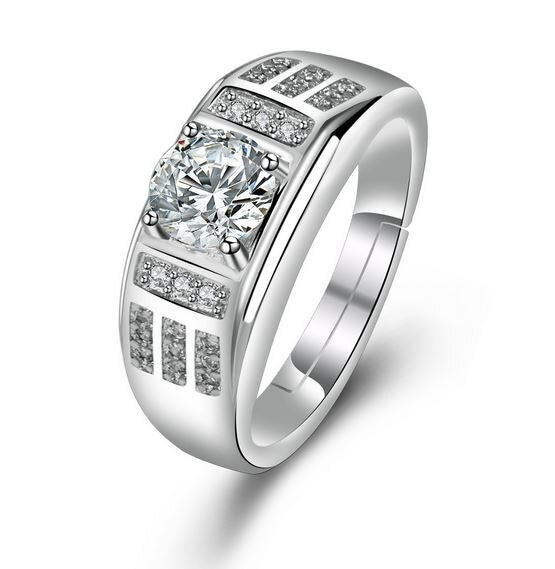 S925 Silver Jewelry Ring Men's Domineering Business Platinum Plated European and American Diamond Simulation Wedding Ring