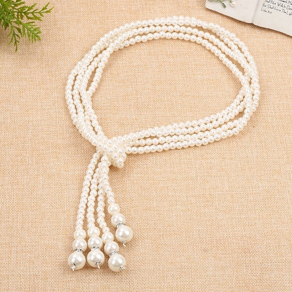 Fashion Pearl Decoration Long Multi-layer Strand Necklace Simple Women Elegant Korean Style Pendant Necklace