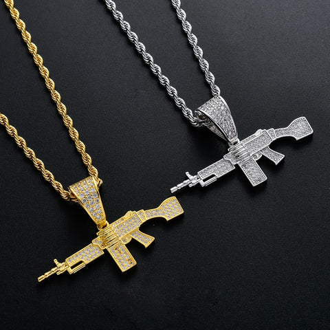 Hip Hop Jewelry 18k Gold Plated Zirconia Simulated Diamond Iced Out Chain Machine Gun Pendant Necklace for Men Charm Gifts