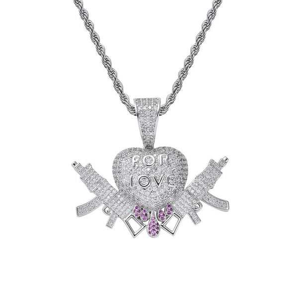 Iced Out Chain 18K Gold Plated Bling CZ Simulated Diamond Heart-shaped FOR LOVE Double Gun Pendant Hip Hop Necklace Jewelry