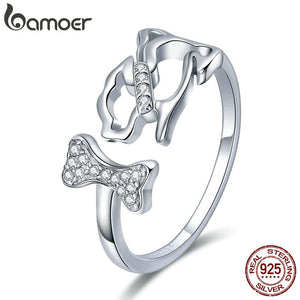 BAMOER 925 Sterling Silver Dog's Company Animal Dog & Bone Finger Rings for Women Adjustable Size Sterling Silver Jewelry SCR416