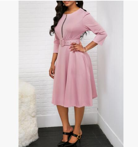 Women Fall Half Sleeve Elegant Tunic Party Dress Female O Neck Solid Zipper Belted Pleated Casual Office Dress Vestidos mujer