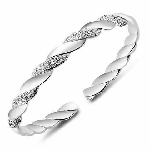 925 Sterling Silver  Classic Fashion Twining Bangle Bracelet With Opening Flexible Fin Jewelry