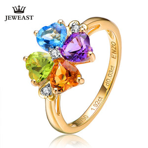 Natural Topaz/Peridot etc 18K Gold Multi Stone Flower Cocktail Ring Fine Jewelry