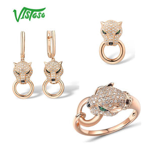 Pure 14K 585 Rose Gold Leopard Emerald Sparkling Diamond Pendant Earrings Ring Set Fine Jewelry