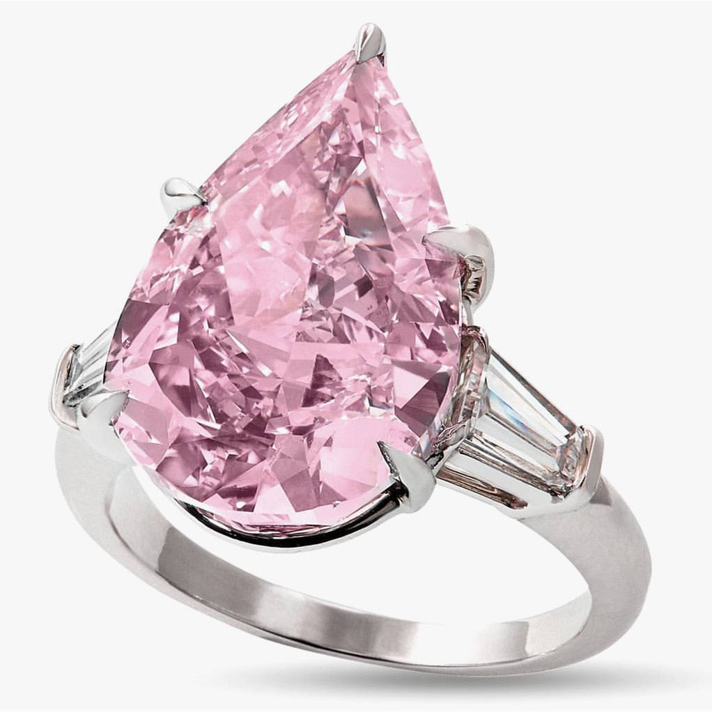 .925 Sterling Silver Luxury Pink Oval CZ Ring