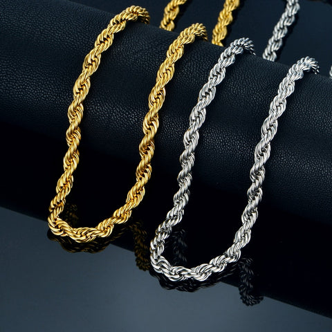 Twist Hip Hop Stainless Steel Long Chain Necklace
